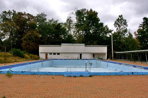 Empty outdoor pool wide shot