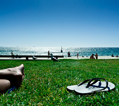 It's good to be back! (jp3g) Tags: feet beach grass sand bluesky thongs perth flipflops cottesloe swimmers seagul jandles