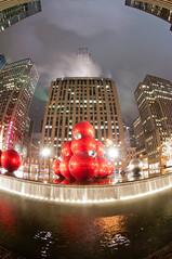 Merry Christmas! (jclarenbach) Tags: christmas xmas longexposure holiday newyork fountain night nikon holidays manhattan balls fisheye rockefeller radiocity 105mm d90