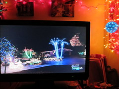 Tropical Miami Christmas Lights TV Shot (Walker Dukes) Tags: sanfrancisco california pink blue trees red holiday black green yellow canon gold screenshot florida magenta screen palm housing kriskringle christmaseve subtropical overkill splitlevel travelchannel canons95