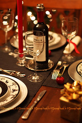 Setting the Mood ~ (EpicureanPiranha ~) Tags: christmas red white black canon cheerful placesetting epicurean dinnerparties settingthemood omot newacademy canoneosrebelxsi epicureanpiranha epicureanpiranha anthracitegrey warmambiance