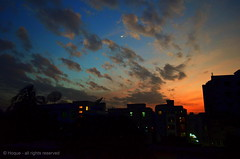 View through my window  [Explored] (*illusionist*) Tags: life road street city blue light sleeping sunset sky cloud moon building love window silhouette night dark de golden soleil nikon raw ray cityscape view cloudy coucher ciel le late dhaka nuage  bangladesh throw  beauti  dhanmondi     d5100