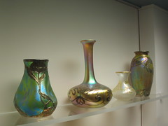 from Portland (Maine) Museum of Art Glass Collection 4 (catchesthelight) Tags: art glass colors leaves maine shapes naturallight exhibit noflash artnouveau vase iridescent organic colourful 20thcentury vases luster artglass lustre portlandmuseumofart aworkofart itsmulticolored wwwportlandmuseumorg
