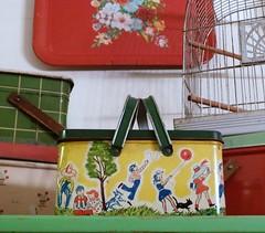 Vintage Picnic Basket (MissConduct*) Tags: decorations house playing birdcage metal vintage children lunch tin illinois picnic basket box cottage decoration style collection tray crown catalog kit decor searsroebuck missconduct oldglorycottage