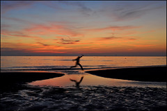 JUMP into the New Year...and make the best of it ! (leuntje (on tour)) Tags: sunset reflection beach netherlands strand jump zonsondergang noordzee northsea katwijk rein silhouet