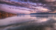 Lac Lman (Philippe Saire || Photography) Tags: sunset sky sun mountain lake alps reflection nature water colors clouds montagne alpes canon landscape eos switzerland soleil eau long exposure suisse couleurs coucher lac sigma wideangle lausanne ciel 7d 1020mm nuages paysage lman reflets hdr gettyimages photomatix paudex philippesaire