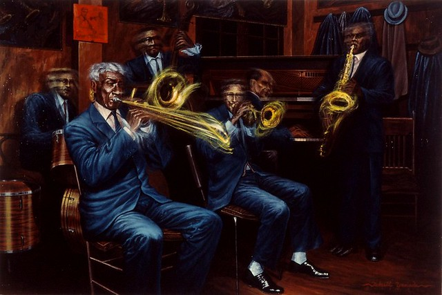 New Orleans 206, Preservation Hall (Jazz Musicians), acryl on canvas, 24x36 inch, 1991, Takeshi Yamada