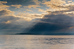 Puget Sound, Rays of Light (Ron Scubadiver's Wild Life) Tags: seattle washington puget sound sunset clouds sea landscape seascape travel nikon outdoor sky ocean serene water shore seaside cloud sand