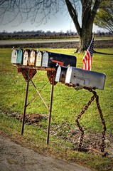 Rural Route (Lights in my hometown) Tags: rural farm flag country mailboxes route american missouri roadside usmail grouped knoxcounty