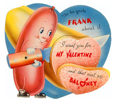No Baloney Valentine (pageofbats) Tags: hotdog knife meat cutting baloney vintagevalentine cartoonfood vilevalentine