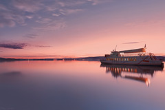 Silent ship (Nick-K (Nikos Koutoulas)) Tags: sunset lake reflection greek boat ship greece  kastoria       mavrochori  mavroxori