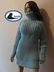 TURTLENECK WOOL MINI SWEATER DRESS HAND KNITTED 01w (BAGHIRA-SWEATERS) Tags: wool fetish sweater turtleneck