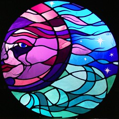 Moon window (stainedglassartist) Tags: sunwindow stainedglasskingfisher schoolwindows moonwindow moodroomwindowsforaschool stainedglassrobin