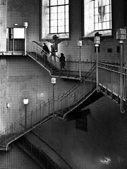 stairways and three silhouettes // elbtunnel, hamburg (pamela ross) Tags: silhouette stairs harbour hamburg treppe hafen stpauli elbtunnel sanktpauli