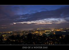 End of a winter day, Lausanne, Switzerland (Matt Toussaint) Tags: urban sun tower night lights switzerland soleil town tour suisse coucher lausanne nuit ville vaud romandie myswitzerland sauvabelin