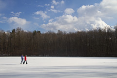 Walking on Ice (Matt Champlin) Tags: family winter girls friends snow cold sexy ice nature danger canon landscape fun outside outdoors happy women quiet peace hiking snowy iceskating lakes wife redandblue icy girlfriends tully brrr 2012 frozenlakes walkingonice womenhiking womeninred tracylake outdoorsinwinter tullyny womenhikinginwinter
