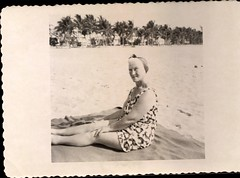 Sitting on the Beach (mizaliza) Tags: summer woman beach photo palmtrees etsy photovintage photoantique vintageswimsuit etsydelphiniumsbluedelphiniumsbluefound