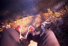(xbacksteinx) Tags: autumn light sun lake film feet water analog 35mm mood moody 28mm fujifilm ripples colorshift expiredfilm velvia50 rvp50 canonef canonfd28mmf2