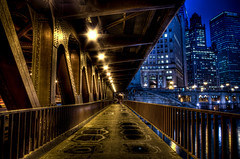Where the sidewalk ends (Brian Koprowski) Tags: bridge chicago blur night lights illinois downtown pentax bokeh sidewalk chicagoriver puddles hdr pentaxk5 briankoprowski bkoprowski