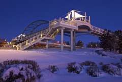 Bridge to Nowhere at Dawn (Thad Roan - Bridgepix) Tags: bridge winter snow cold dawn colorado footbridge snowstorm denver bluehour facebook littleton bridgetonowhere bridgepix 201202