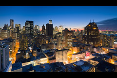 TriBeCa, The Financial District, and Jersey City at Dusk (RBudhu) Tags: newyorkcity jerseycity financialdistrict tribeca gothamist curbed