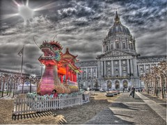 Gung Hay Fat Choy from SF City Hall, HDR (Walker Dukes) Tags: sanfrancisco california pink blue trees red sky urban orange sun black green animal monster clouds landscape boat cityscape dragon bright teeth silk flags dome handheld fangs float firebreathing mythological stunted photomatix tonemapping sfbayara