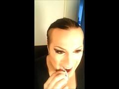 Transformation (Miisu Miisulainen) Tags: from boy black girl beauty hair drag eyes lashes transformation boobs cd makeup crossdresser pinstripe