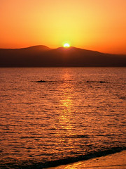 Sun sets behind Paros (andbog) Tags: sunset sea panorama seascape beach landscape lowresolution mediterranean mediterraneo tramonto mare ps casio greece grecia pointandshoot gr sunsetlight spiaggia paesaggio cyclades lowres naxos compactcamera cicladi qvr40 aegeansea kastraki casioqvr40 maregeo e