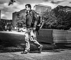 Urban Trailblazers (TMimages PDX) Tags: road street city people urban blackandwhite monochrome buildings portland geotagged photography photo image streetphotography streetscene sidewalk photograph pedestrians pacificnorthwest avenue vignette fineartphotography iphoneography