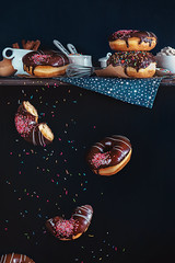 Donuts from the top shelf (Dina Belenko) Tags: food motion utensils cooking kitchen glass blackbackground breakfast dark fun star colorful mess chaos drink sweet top levitation shelf falling scatter gravity sprinkles donut pastry copyspace highspeed khabarovsk clumsy ingredient