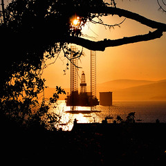 Glimpses of Rigs (ccgd) Tags: sunset tree square scotland rig oil cromarty firth gloaming