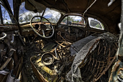 Pretty on the Inside (Frank C. Grace (Trig Photography)) Tags: auto rot yard junk rust automobile decay interior seat junkyard dawgs hdr steeringwheel urbex driversseat on1pics