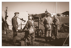 Dad's Army V (go18lf2004) Tags: sepia vintage soldier flying war military duty wwii chatting defence weapons shoreham airfield interaction homeguard