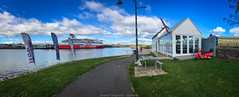 Devonport (Andrew Shepherd) Tags: panorama ferry cafe day harbour path ships tasmania devonport merseyriver lightroom iphone spiritoftasmania