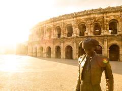 Nmes, France (yann.m travel) Tags: light sunset statue roman leak bullfight
