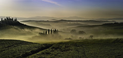 Gold color. (Massetti Fabrizio) Tags: red italy sunlight green yellow fog rural sunrise italia tuscany belvedere siena pienza toscana valdorcia rosso rodenstock phaseone sanquirico iq180