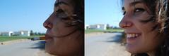(Sara.....) Tags: street blue sky girl smile azul calle smoke piercing cielo sonrisa chic fumar nariz cigarro cigarret nouse