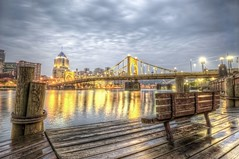 Roberto Clemente Bridge in Pittsburgh reflections HDR (Dave DiCello) Tags: beautiful skyline photoshop nikon pittsburgh tripod christmastree northshore bluehour nikkor hdr highdynamicrange pncpark pittsburghpirates cs4 steelcity photomatix beautifulcities yinzer cityofbridges tonemapped theburgh pittsburgher colorefex cs5 beautifulskyline d700 thecityofbridges pittsburghphotography davedicello pittsburghcityofbridges steelscapes beautifulcitiesatnight hdrexposed picturesofpittsburgh cityofbridgesphotography