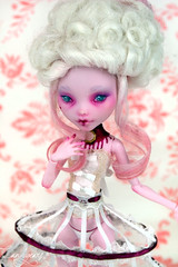 Marie Antoinette - Queen of Fashion (candygears) Tags: blood shoes vampire marieantoinette crinoline repaint customdoll marieantoinettedoll candygears miniaturecouture monsterhigh draculara monsterhighdoll fashiondollrepain