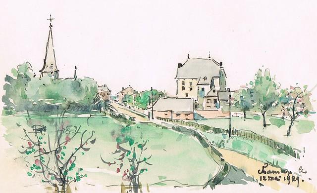 Charneux-Herve (12/5/1929). Emile Deshayes, dessinateur liégeois. Liège Dessin