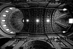 st peter's basilica ceiling and dome (elmofoto) Tags: windows blackandwhite bw italy sunlight pope vatican rome roma texture church architecture contrast nikon worship catholic fav50 basilica religion saints wideangle fav20 ceiling altar vaticano chiesa cupola dome papa baroque catholicism michelangelo left raphael tamron santi fav30 sanpietro 11mm fresco barocco tapestry 500v 1118 crepuscular saintpeters vaticancity buonarroti d300 papal oblong transept 1000v fav10 southtransept sixtusv cittdelvaticano fav100 giorgiovasari fav40 fav60 2500v fav90 fav80 piusv fav70 luigivanvitelli lefttransept helengardner ringexcellence elmofoto lorenzomontezemolo tidder