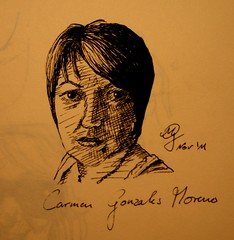 Portrait Carmen Gonzales Morener (Sketchmanni) Tags: party portrait pencil ink sketch julia drawing emma kay sketchbook doodle manuel bild tinte scribble bleistift grote moleskin zeichnung manni jkpp moeskinerie