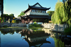 House of Tea (Lao An (PhotonMix)) Tags: blue sky reflection water architecture germany asian asia culture teahouse luisenpark mannheimluisenpark teahousechineseteahousefengshuiwaterreflectionsbridgescultureblueskyserenityidyllicpristinephotonmixnikond5000