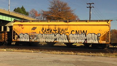CIV & BKAT (BLACK VOMIT) Tags: train graffiti grain hopper freight civ grainer bobkat bkat