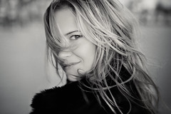 She Caught My Attention (TJ Scott) Tags: portrait bw windblown victoriapratt tjscott