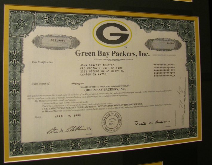 Green bay packers stock options