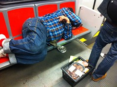 My Morning Commute (davitydave) Tags: sanfrancisco california sleeping food train subway publictransportation homeless muni bayarea rushhour scraps asleep passedout njudah morningcommute crowded sfist transient sfweekly threeseats