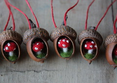 acorn ornaments (lilfishstudios) Tags: wool mushrooms handmade craft acorn ornaments toadstool fiber redwhitespotted