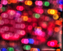 Out-of-Focus, But Oddly Focused Christmas Lights HDR (Walker Dukes) Tags: sanfrancisco california pink blue red orange black green yellow gold lights purple magenta photomatix