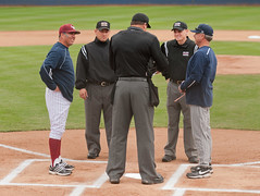 Providing rosters at the plate (mark6mauno) Tags: jason west coast jones coach nikon wolf university baseball stadium nevada wcc joe rob pack page heath loyola lions conference gary powers reno nikkor hansen gill maiden marymount d3 wolfpack umpire lmu unr tc14eii 70200mmf28gvr 2011 loyolamarymountuniversity garypowers westcoastconference nikond3 pagestadium heathjones jasongill joemaiden loyolamarymountuniversitylions robhansen universitynevadarenowolfpack universitynevada